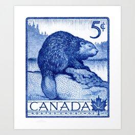 1954 CANADA Beaver Postage Stamp Art Print