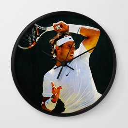 Nadal Tennis Over the Head Forehand Wall Clock