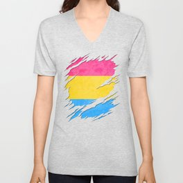 Pansexual Pride Flag Ripped Reveal Unisex V-Neck