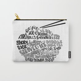 Hand Lettered Taiwanese Food Bowl Carry-All Pouch