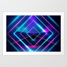 Neon Geometric Lights  Art Print