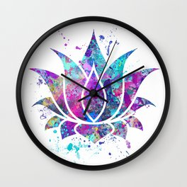 Lotus Flower Watercolor Print Wall Art Wedding Gift Zen decor Wall Clock