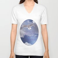 bible verses V-neck T-shirts featuring Seagull with Matthew 6:26-26 Verses by Photos and Images by Corri