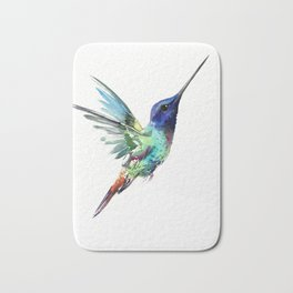 Flying Hummingbird flying bird, turquoise blue elegant bird minimalist design Bath Mat