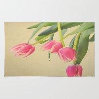 tulips Area & Throw Rugs featuring Tulips by Rachel Burbee