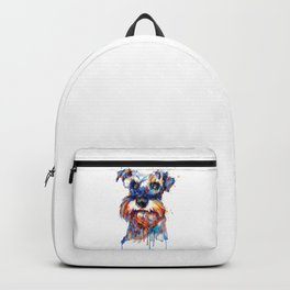 Schnauzer Head Watercolor Portrait Backpack