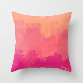 Modern Abstract Colorful Explosion in Peachy Salmon, Pink Coral and Bright Fuchsia Colors, Paint Stripes Throw Pillow