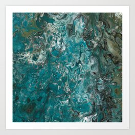 Ocean View, abstract poured painting Art Print