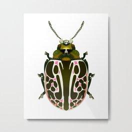 Green, White, Pink Beetle Metal Print