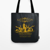 whiskey Tote Bags featuring Lovecraftian Whiskey by pigboom el crapo