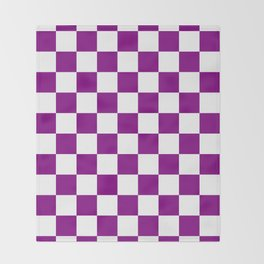 Checkered - White and Purple Violet Throw Blanket