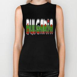 Bulgaria Font #2 with Bulgarian Flag Biker Tank