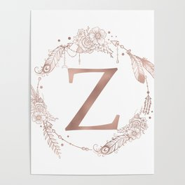 Letter Z Rose Gold Pink Initial Monogram Poster