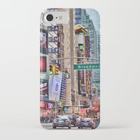 broadway iPhone & iPod Cases featuring Broadway, NYC by June Marie