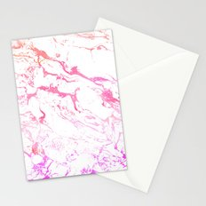 Modern pink purple watercolor white marble pattern Stationery Cards