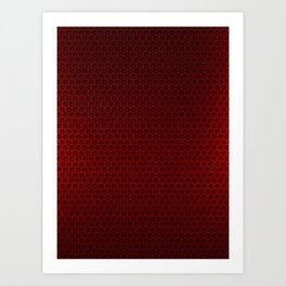 Red & Black Graphite Honeycomb Carbon Fiber Art Print