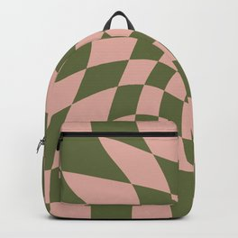 Wavy Check - Green And Peach - Checkerboard Pattern Print Backpack
