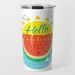 Hello Summer Hello beach Travel Mug