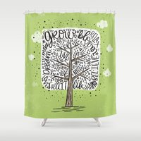 tree of life Shower Curtains featuring Tree of Life by Matthew Taylor Wilson