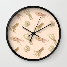 Cephalopods on Blush 2 Wall Clock