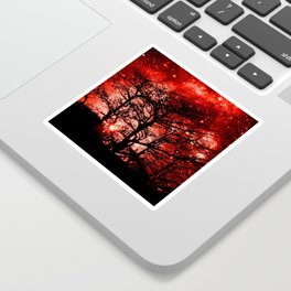 black trees red space Sticker
