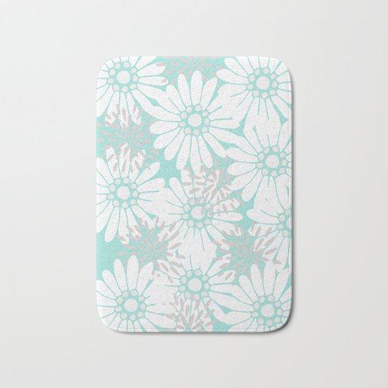 Summer Flowers Turquoise Bath Mat