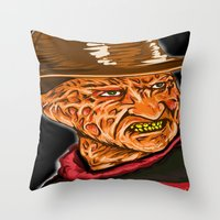 freddy krueger Throw Pillows featuring Freddy Krueger by Art of Fernie