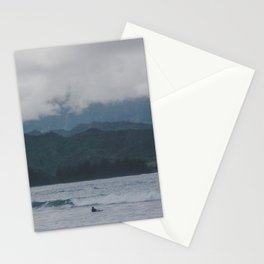 Lone Surfer - Hanalei Bay - Kauai, Hawaii Stationery Cards