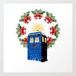 A WARM AND CONFORTABLE TARDIS I N THE SNOWSTORM Art Print