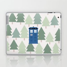 TARDIS lands in the Pacific Northwest Pine Tree Forest - Oregon, Washington, Portland, PDX, Seattle Laptop & iPad Skin