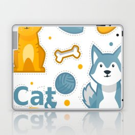 Cute Cat And Dog Laptop & iPad Skin