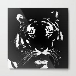 Black n white tiger Metal Print