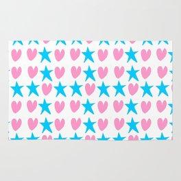 hearts ans stars-light,spangled,heart,star,love,girly,romantic,cute,women,sky,rays,pointed,lovely Rug