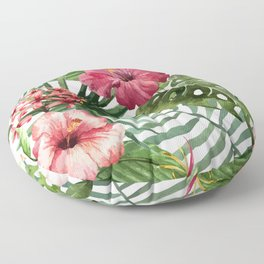 Tropical Floral Pattern 02 Floor Pillow