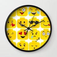 emoji Wall Clocks featuring Emoji-Minifigure by Raddington Falls