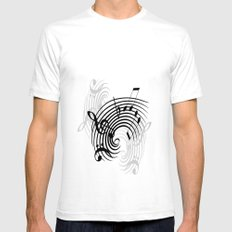 Music Notes Mens Fitted Tee SMALL White