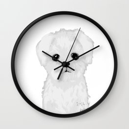bw maltese Wall Clock