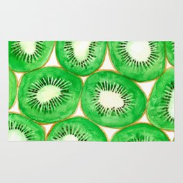 Watercolor kiwi slices pattern Rug