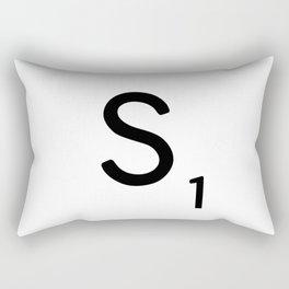 Letter S - Custom Scrabble Letter Tile Art - Scrabble S Initial Rectangular Pillow