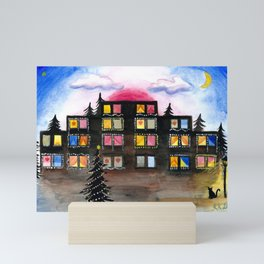 Christmas Building Painting Mini Art Print