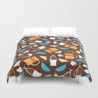 coffe Duvet Covers featuring Cup of coffe? by Olga  Varlamova