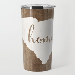 South Carolina is Home - White on Wood Travel Mug