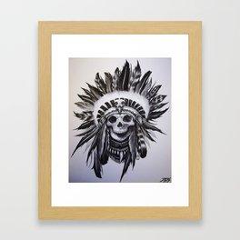 Native American Skull Framed Art Print