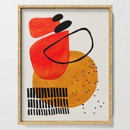 Mid Century Modern Abstract Colorful Art Yellow Ball Orange Shapes Orbit Black Pattern Serving Tray