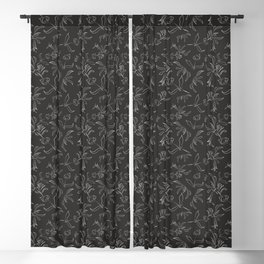 Hand Drawn Floral Blackout Curtain