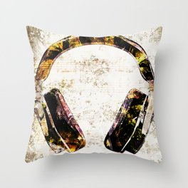 Headphone Rock Throw Pillow