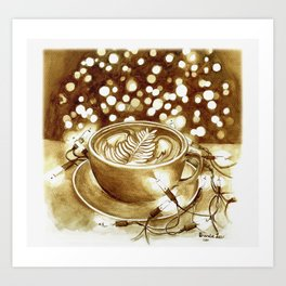 Latte & Lights (coffee painting #2) Art Print