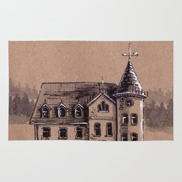 A haunted house Rug