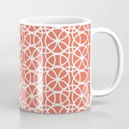 Pantone Living Coral and White Rings Circle Heaven, Overlapping Ring Design Coffee Mug