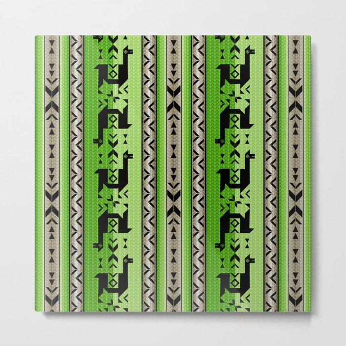 Llamas_Green and WarmGray Metal Print